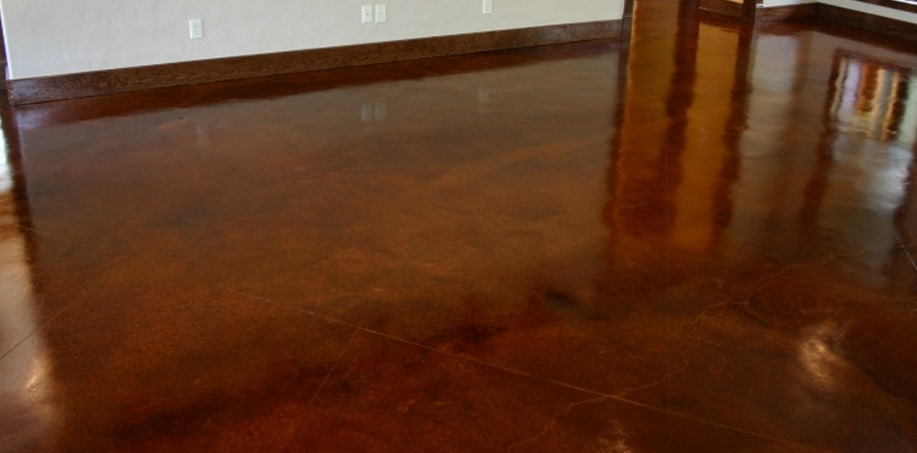Concrete Floor Stained with Saddle