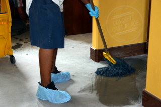mopping a concrete floor