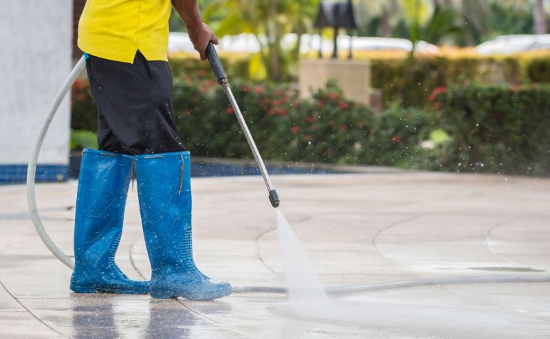 Cleaning exterior concrete floors