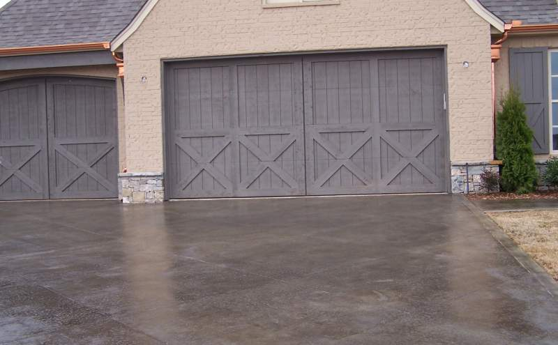 Concrete floor cleaned of any tire marks