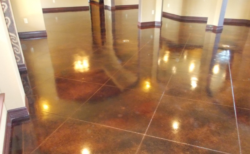 concrete stain tile look