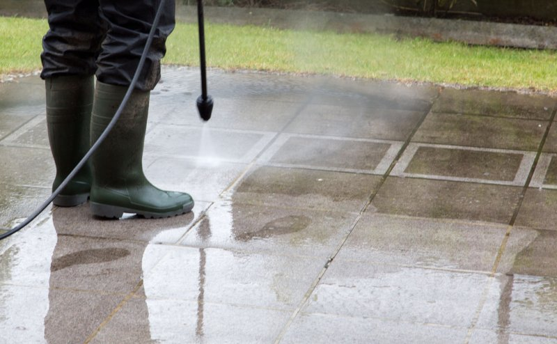 power washing concrete rust removal solution off