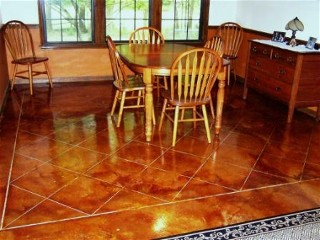 concrete floor after staining
