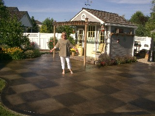 checker board stained concrete patio